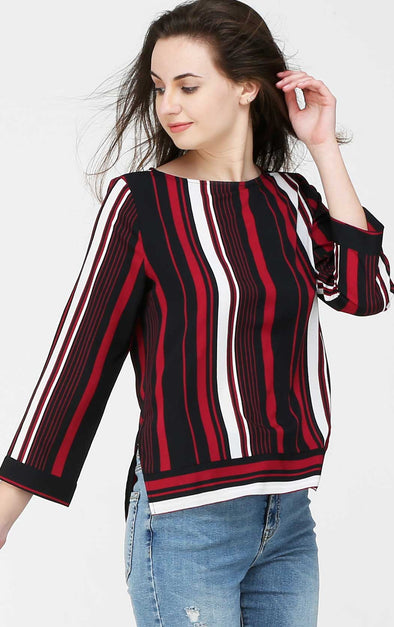 Boat Neck Striped Top