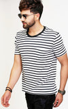 striped navy blue round neck t shirt