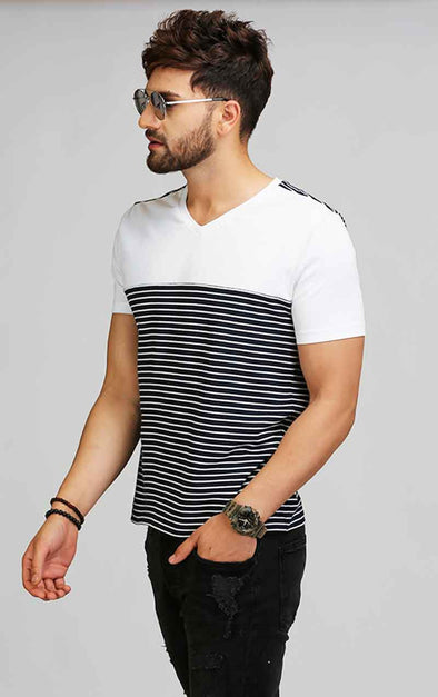 V Neck Blue And White Striped T Shirt
