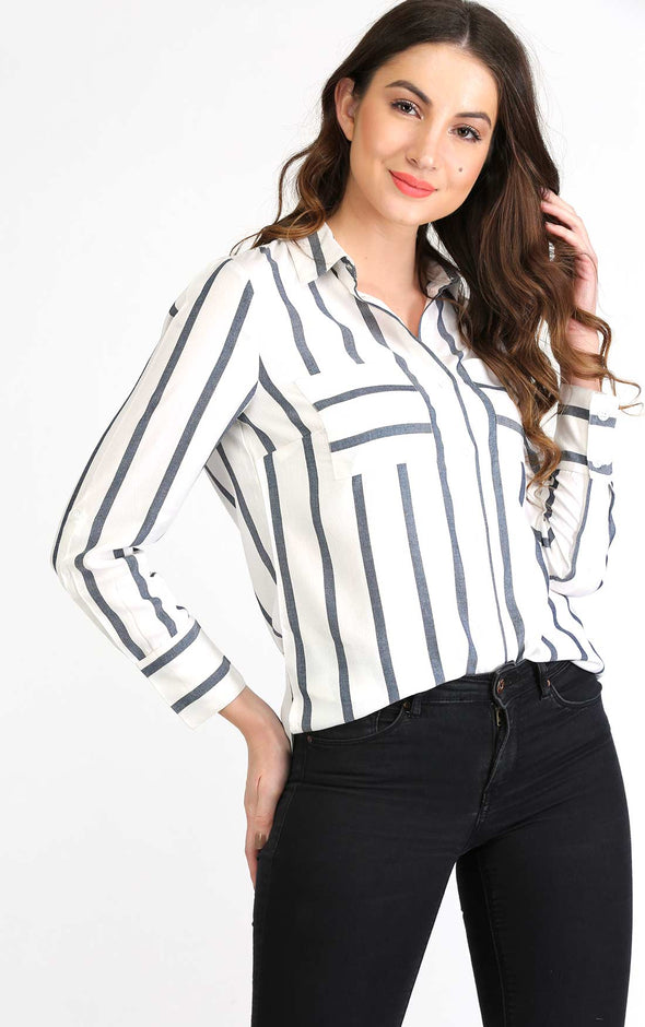 White Striped Full Sleeve Shirt
