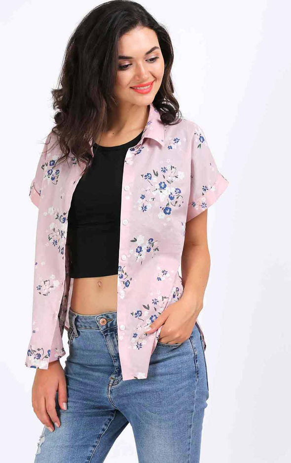 Stylish Printed  Pink Shirt For Women