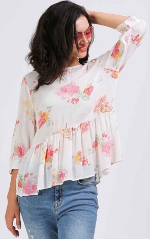 Stylish White Floral Flowy Top
