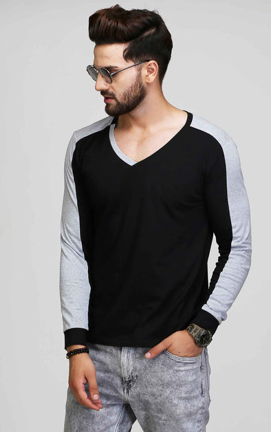 V Neck Grey And Black T Shirt