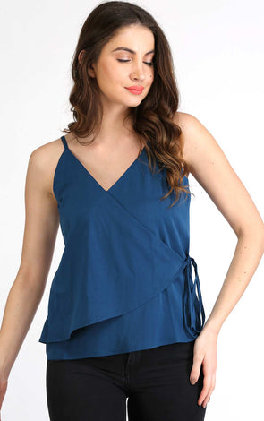 blue sleeveless wrap top