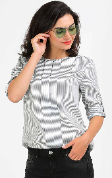 Black And White Stripe Women's Top