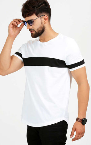 AELO Crew Neck White Casual Men's T Shirt