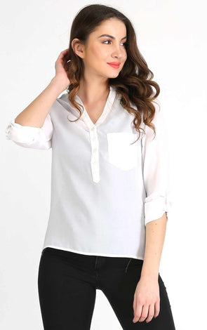 white full sleeve  women top