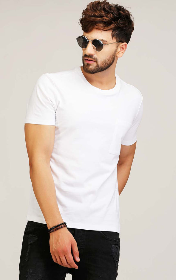 crew neck white t shirt for men with pocket