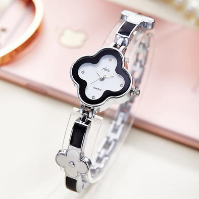 Aelo Black And White Floral Dial Girls Watch