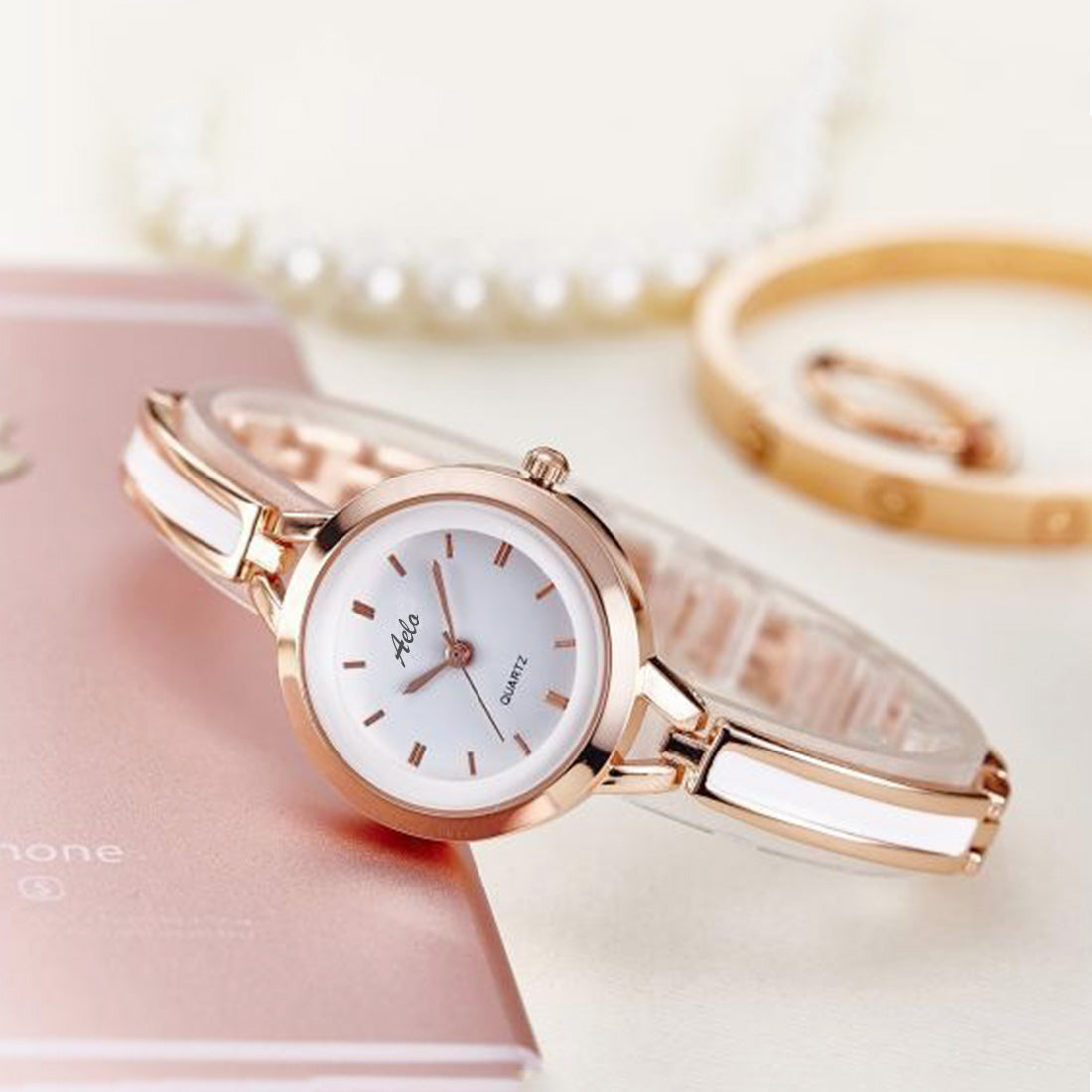 1293378504b White And Rose Gold - Aelo – AELOMART