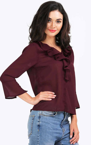 Wine Ruffle Women's Top
