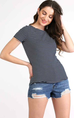 Navy Blue Stripe Half Sleeve T Shirt
