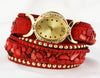 Red Multi Band Wrap Ladies Watch