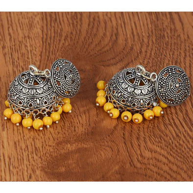 Metal Jhumka Yellow Bead