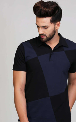 Zigzag Black And Navy T Shirt
