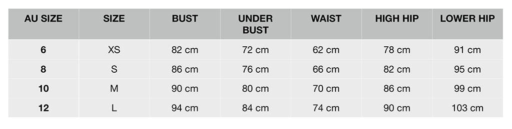 Okay Pretty Size Guide Table
