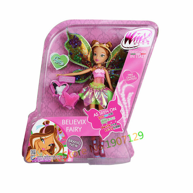 BIG!! 28CM High Winx Club Doll rainbow colorful girl Action Figures Dolls with Wing and Mirror Comb  Classic Toys For Girls Gift