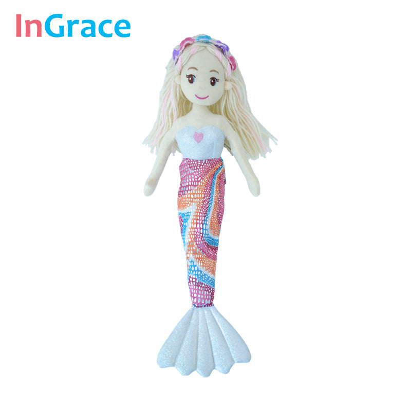 InGrace high quality princess style mermaid dolls for girls best gift toys for kids girls 10 colors 45CM dream stuffed girl doll