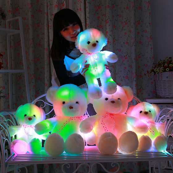 VILEAD Cute Creative LED Light Colorful Teddy Bear Cushion Pillow Stuffed Toy Plush Doll Bear Doll Birthday Gift For Girl Lover