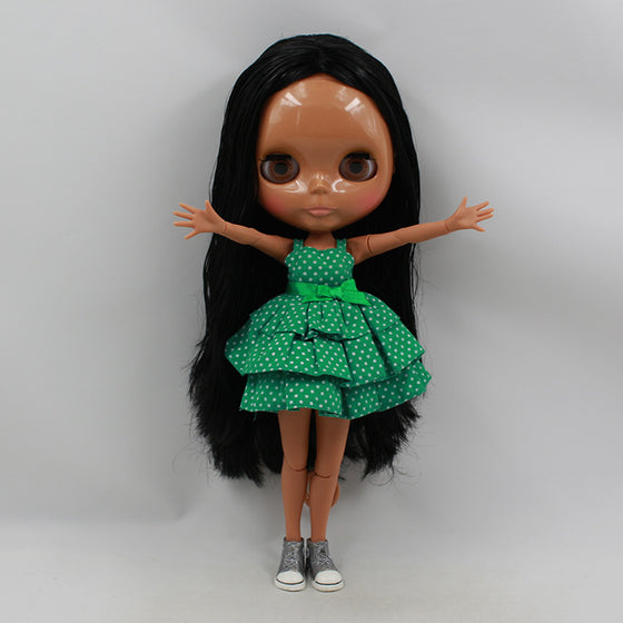 Free shipping Nude Black 12'' Blyth Mini cartoon fashion dolls with joint body black long hair top baby dolls for girls