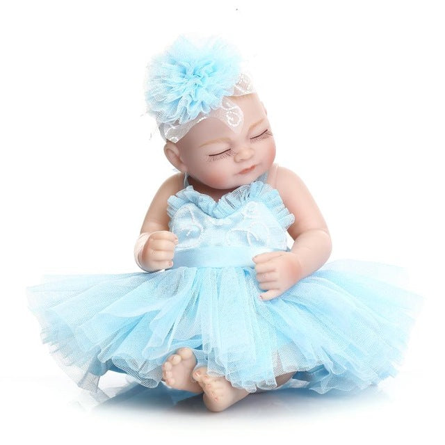 28cm 10 inch Full Silicone Bebe Reborn  Dolls African American Baby Doll Ethnic Alive Dolls Brinquedos Juguetes Sleepping girl