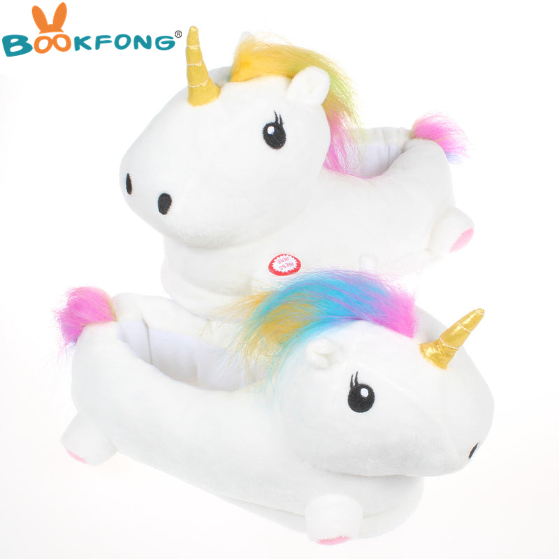 BOOKFONG 20CM Luminous Unicorn Plush Slippers Kawaii Led Light Up Unicorn Shoes Stuffed Plush Toy Kids Girls Gifts