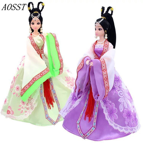 (AOSST)2Color High-quality Cute Chinese Ancient Costume Doll Ancient Style Fairy Princess Girl Doll Birthday Presents For Kids