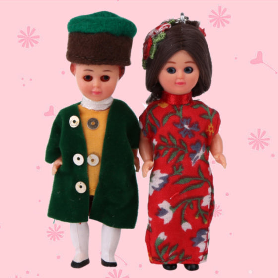 Kids Toy 3inch Ethnic Clothes Dolls A Set German Man&Chinese Woman Baby Gift Dolls Reborn Girls/Boy International Apparel Doll