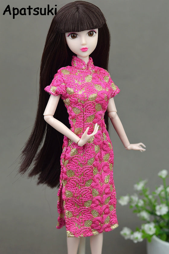 High Quality Handmade Dress For Barbie Doll Cheongsam Chinese Traditional Dress Vestido Qipao Evening Dresses