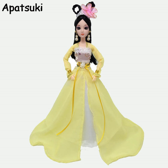 Yellow Cosplay Traditional Chinese Ancient Beauty Costume Clothes For Barbie Doll Party Dress Evening Dresses Doll Accessories