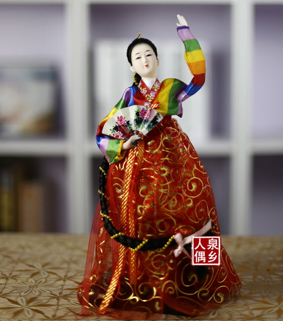 Decoration Arts crafts girl gifts get married South Korea Korean silk crafts 12 Inch Doll handmade ornaments Korean people give
