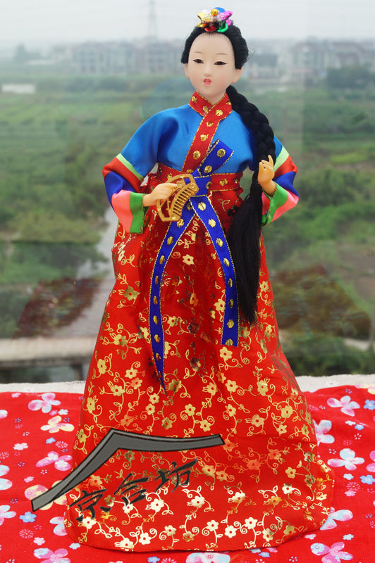 Decoration Arts crafts girl gifts get married The marriage room decoration ethnic Korean dress gift silk hanbok doll Korea Bobbi