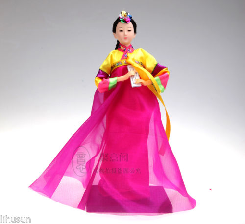 Chinese Handmade Raw Silk Figure Korean Costume Beautiful Girl Doll Ornament