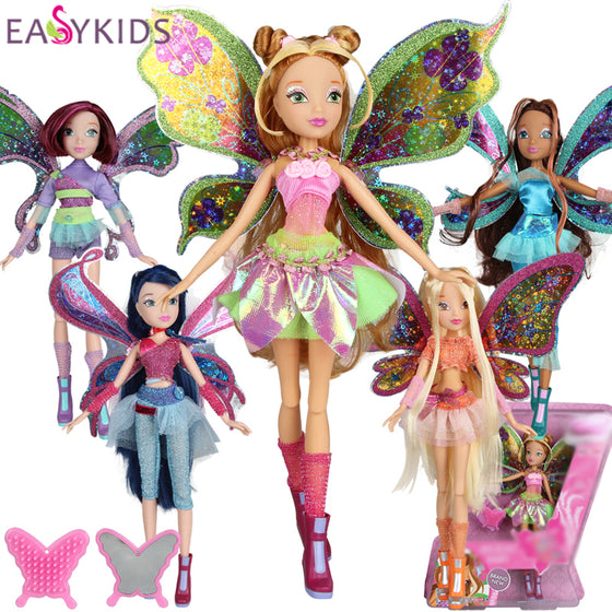 Winx Club Doll Believix Fairy rainbow colorful girl Action Figures Dolls with Wing and Mirror Comb Classic Toys For Girls Gift