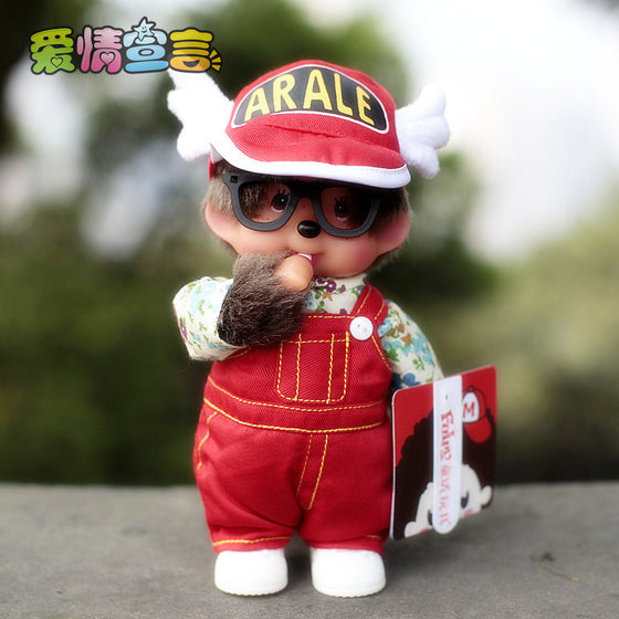 Free shipping monchhichi cute 20cm plush doll for children chinese brand fairy tale monchhichi monchichi-red clothing girl