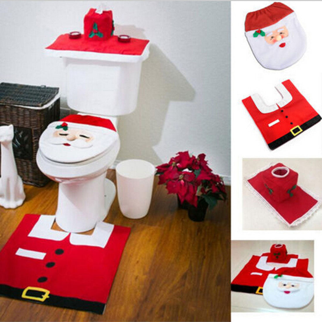 3Pcs Set Christmas Bathroom Toilet Seats Cover