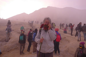 Suzette at the top of Kawah Ijen, East Java