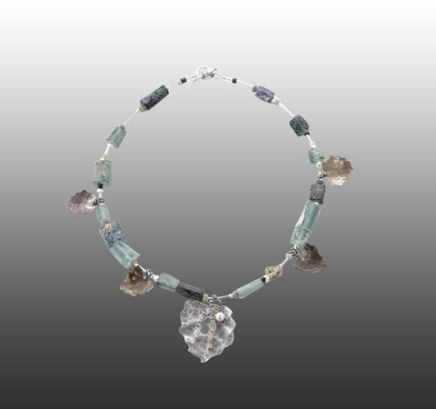 Bacchus necklace.  Roman glass, sterling silver, copper and brass