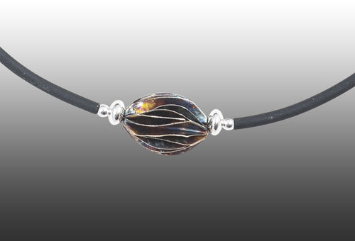 Casuarina Single bead. Patinated Silver