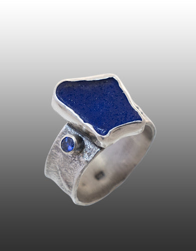 Sea Glass and Sapphire Ring