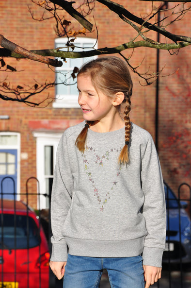 Heart Star Grey Marl Kids Sweatshirt