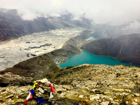 View from Top of Gokyo Ri - The Gokyo Town and the Three out of Five Turquoise Gokyo Lakes