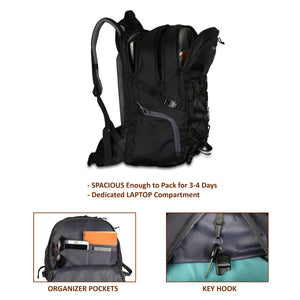 Tripole Fox 35 Litre Internal Frame Laptop Backpack | Black