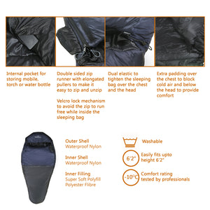 Shivalik Series -10°C Comfort Sleeping Bag (Black)