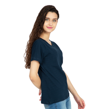 Cotton Stretchable Women T-Shirt Solid Color | Navy Blue