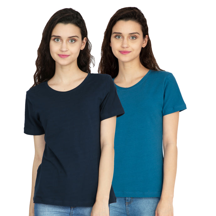 Cotton Stretchable Combo Women T-Shirt Solid Color | Blue | Navy Blue