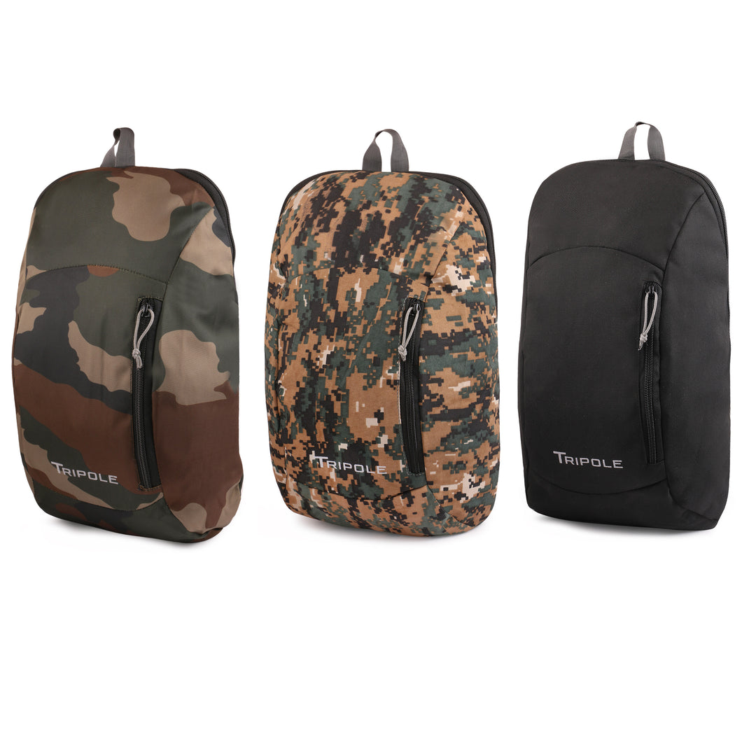 Sprint 10 Litre Backpack Combo | Pack of 3 | Camouflage Black