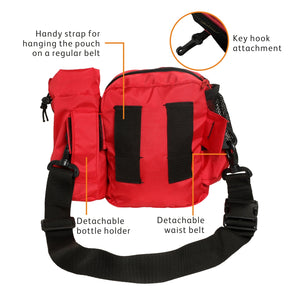 Tripole Waist Pack with Detachable Bottle Holder - Multi-Utility Waist and Sling Bag for Hiking, Cycling, and Backpacking | Red