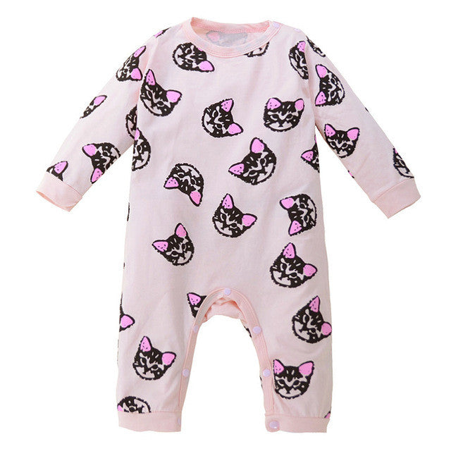 04bd0fc4e1b9 Toddler Baby Boys Girls Long Sleeve Kitten Print Romper Jumpsuit Clothes  Cotton blend Kids Outfits Clothes