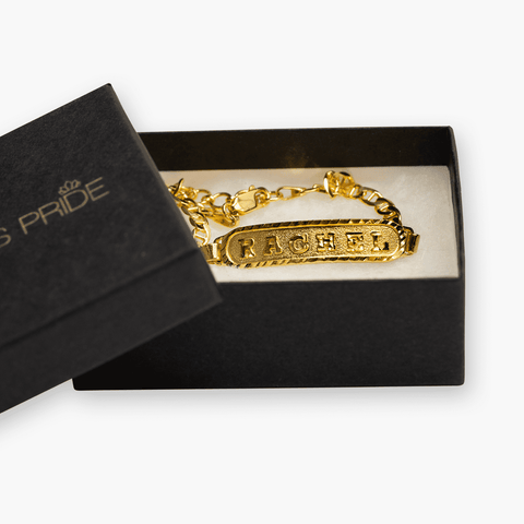 Personalized Bracelet in Arabic, English or Egyptian with 18K Yellow Gold Plating - Humanity's Pride